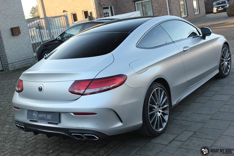 Mercedes C-coupe satin white aluminium, Carwrapping door Wrapmyride.nu Foto-nr:12730, ©2019