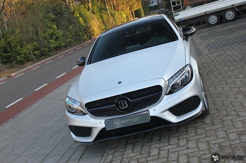 Mercedes C-coupe satin white aluminium, Carwrapping door Wrapmyride.nu Foto-nr:12731, ©2019