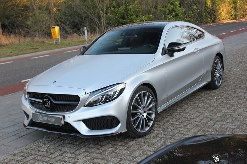 Mercedes C-coupe satin white aluminium, Carwrapping door Wrapmyride.nu Foto-nr:12732, ©2021