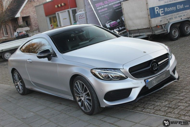 Mercedes C-coupe satin white aluminium, Carwrapping door Wrapmyride.nu Foto-nr:12733, ©2019