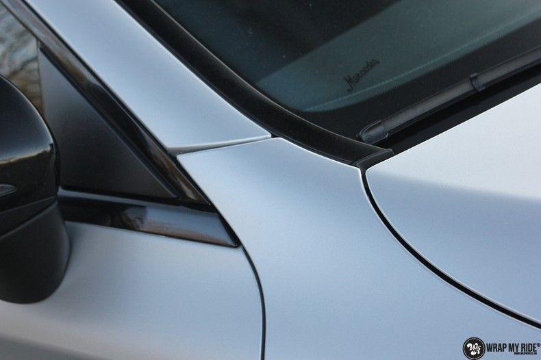 Mercedes C-coupe satin white aluminium, Carwrapping door Wrapmyride.nu Foto-nr:12734, ©2021