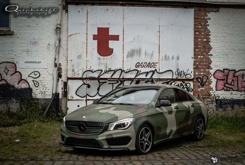 Mercedes CLA custom Camo wrap, Carwrapping door Wrapmyride.nu Foto-nr:10030, ©2021