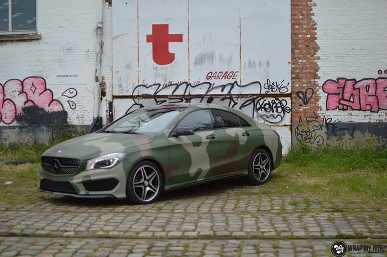 Mercedes CLA custom Camo wrap, Carwrapping door Wrapmyride.nu Foto-nr:10031, ©2021