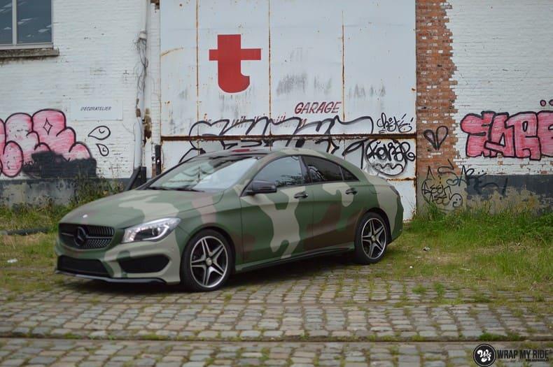 Mercedes CLA custom Camo wrap, Carwrapping door Wrapmyride.nu Foto-nr:10031, ©2020