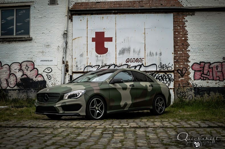 Mercedes CLA custom Camo wrap, Carwrapping door Wrapmyride.nu Foto-nr:10032, ©2021