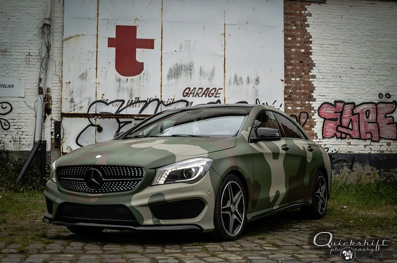 Mercedes CLA custom Camo wrap, Carwrapping door Wrapmyride.nu Foto-nr:10033, ©2019