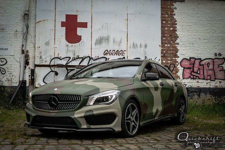 Mercedes CLA custom Camo wrap, Carwrapping door Wrapmyride.nu Foto-nr:10033, ©2020