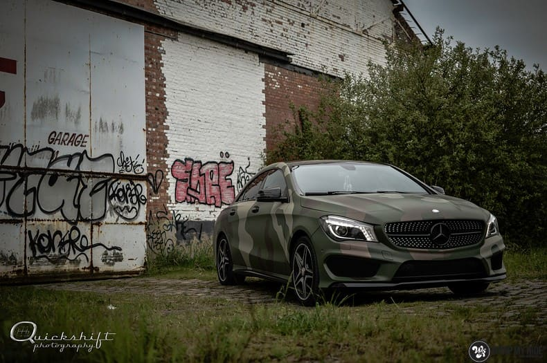 Mercedes CLA custom Camo wrap, Carwrapping door Wrapmyride.nu Foto-nr:10034, ©2019