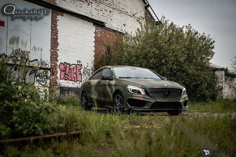 Mercedes CLA custom Camo wrap, Carwrapping door Wrapmyride.nu Foto-nr:10035, ©2020