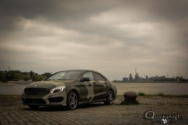Mercedes CLA custom Camo wrap, Carwrapping door Wrapmyride.nu Foto-nr:10038, ©2020