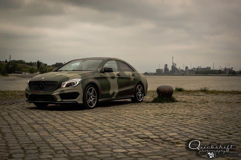 Mercedes CLA custom Camo wrap, Carwrapping door Wrapmyride.nu Foto-nr:10039, ©2021