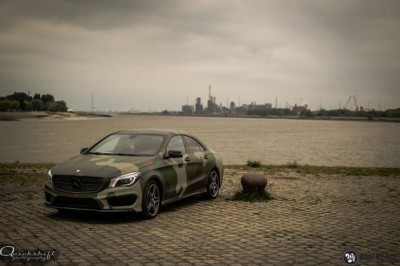 Mercedes CLA custom Camo wrap, Carwrapping door Wrapmyride.nu Foto-nr:10040, ©2021