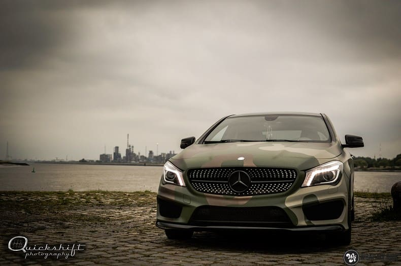 Mercedes CLA custom Camo wrap, Carwrapping door Wrapmyride.nu Foto-nr:10041, ©2021