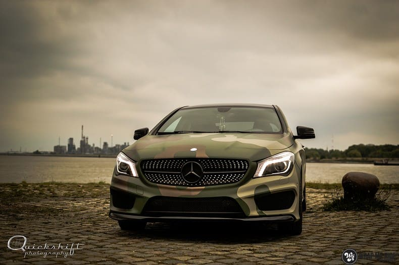 Mercedes CLA custom Camo wrap, Carwrapping door Wrapmyride.nu Foto-nr:10042, ©2021