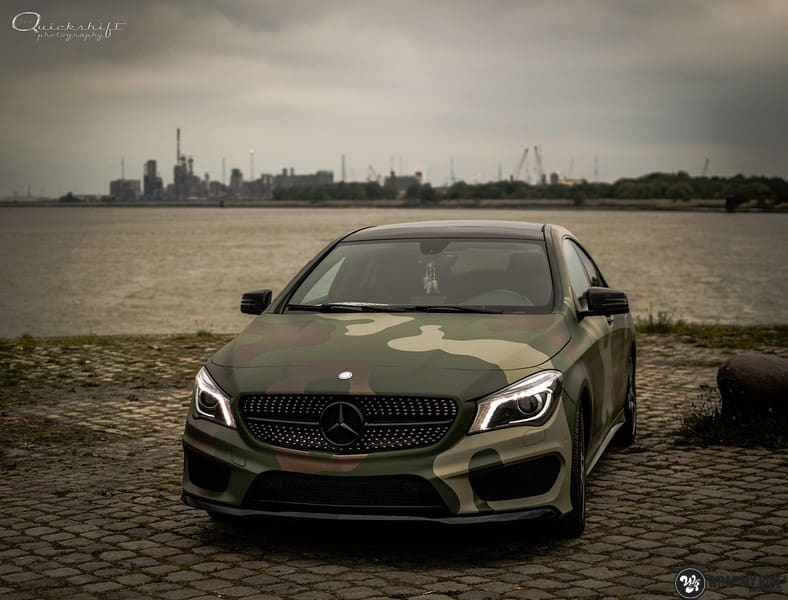 Mercedes CLA custom Camo wrap, Carwrapping door Wrapmyride.nu Foto-nr:10043, ©2021