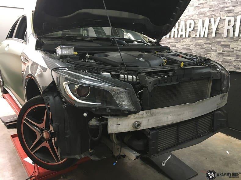 Mercedes CLA custom Camo wrap, Carwrapping door Wrapmyride.nu Foto-nr:10047, ©2020