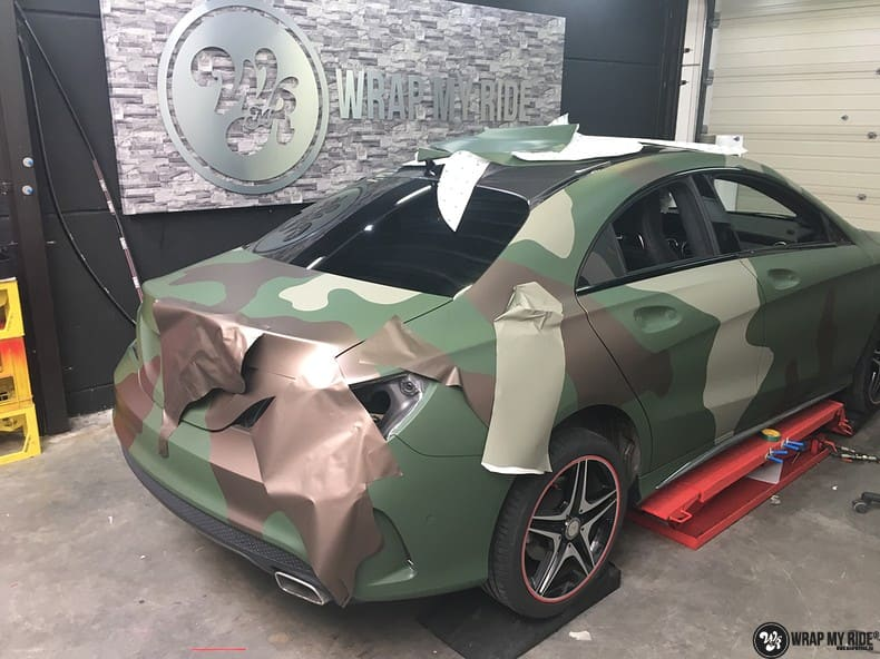 Mercedes CLA custom Camo wrap, Carwrapping door Wrapmyride.nu Foto-nr:10048, ©2019