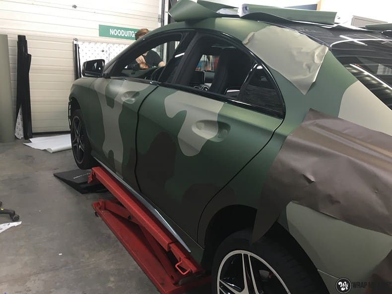 Mercedes CLA custom Camo wrap, Carwrapping door Wrapmyride.nu Foto-nr:10050, ©2019