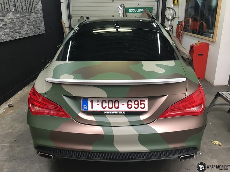 Mercedes CLA custom Camo wrap, Carwrapping door Wrapmyride.nu Foto-nr:10056, ©2021