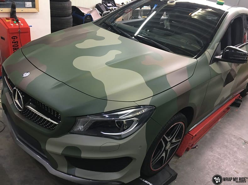 Mercedes CLA custom Camo wrap, Carwrapping door Wrapmyride.nu Foto-nr:10058, ©2019