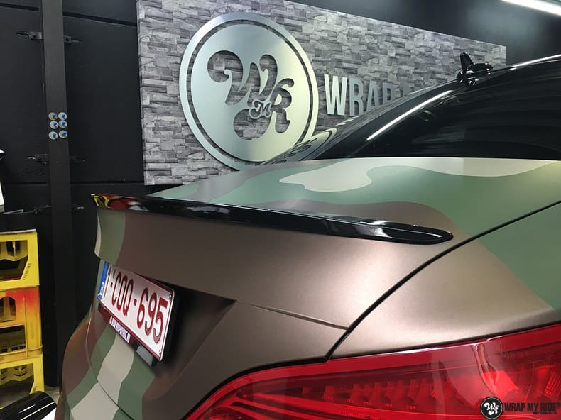 Mercedes CLA custom Camo wrap, Carwrapping door Wrapmyride.nu Foto-nr:10062, ©2019