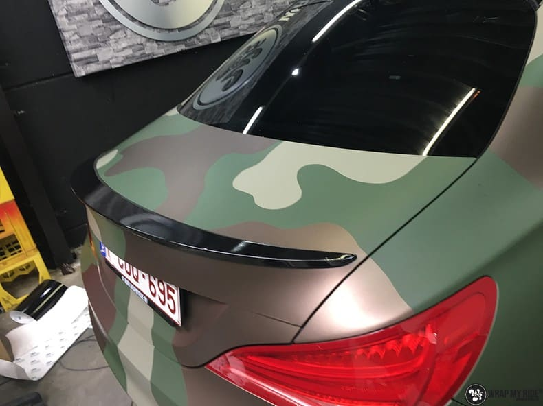 Mercedes CLA custom Camo wrap, Carwrapping door Wrapmyride.nu Foto-nr:10063, ©2021