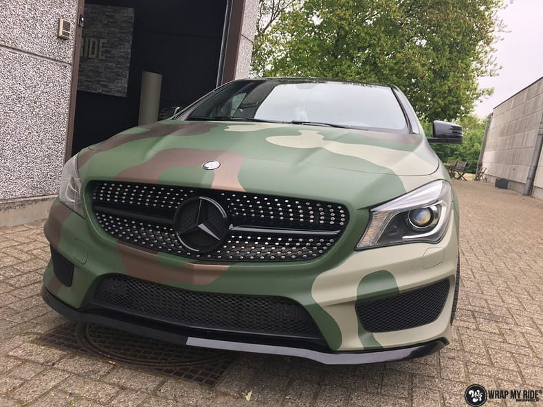 Mercedes CLA custom Camo wrap, Carwrapping door Wrapmyride.nu Foto-nr:10065, ©2019