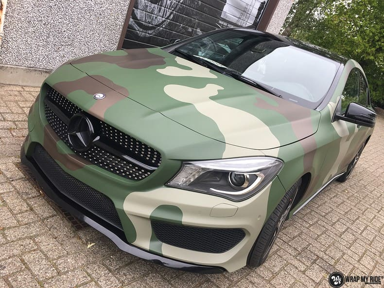 Mercedes CLA custom Camo wrap, Carwrapping door Wrapmyride.nu Foto-nr:10066, ©2021