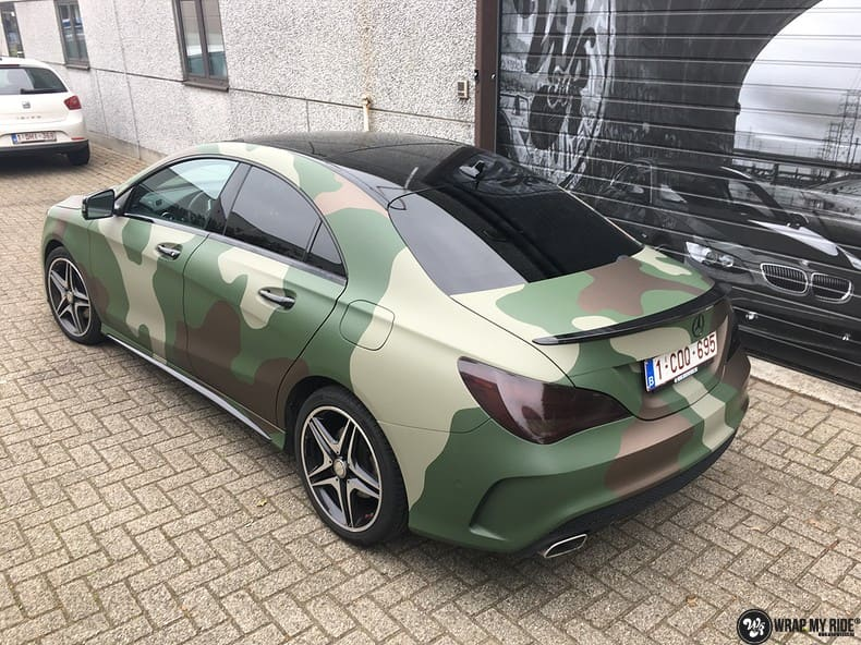 Mercedes CLA custom Camo wrap, Carwrapping door Wrapmyride.nu Foto-nr:10068, ©2019