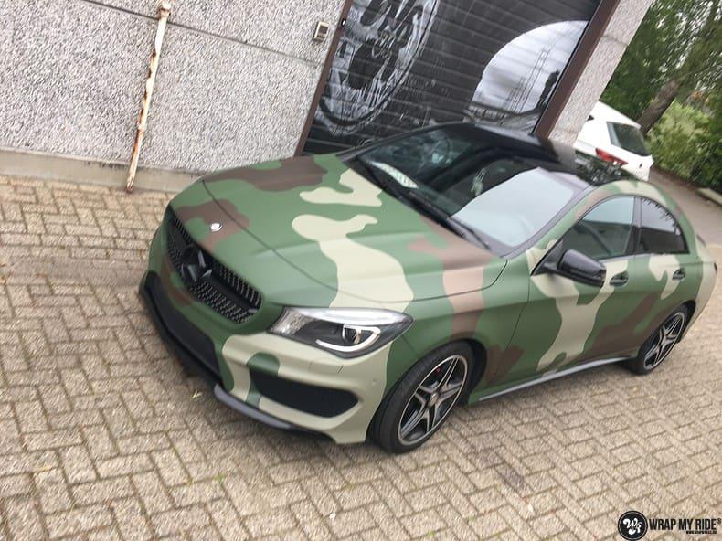 Mercedes CLA custom Camo wrap, Carwrapping door Wrapmyride.nu Foto-nr:10069, ©2020