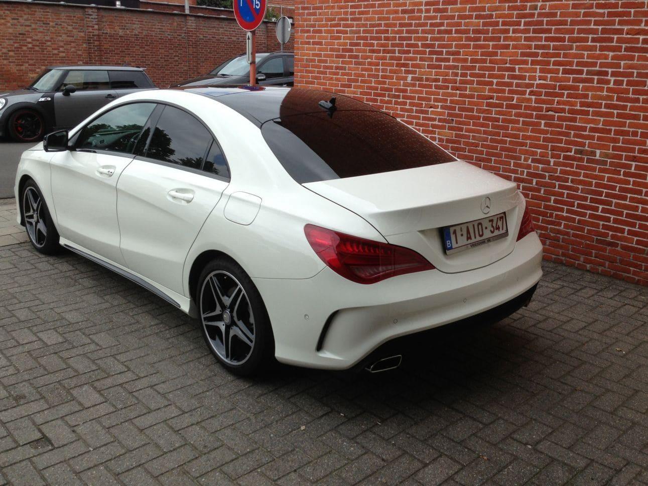 Mercedes CLA in Witte Wrap met Zwarte Accenten, Carwrapping door Wrapmyride.nu Foto-nr:6091, ©2018
