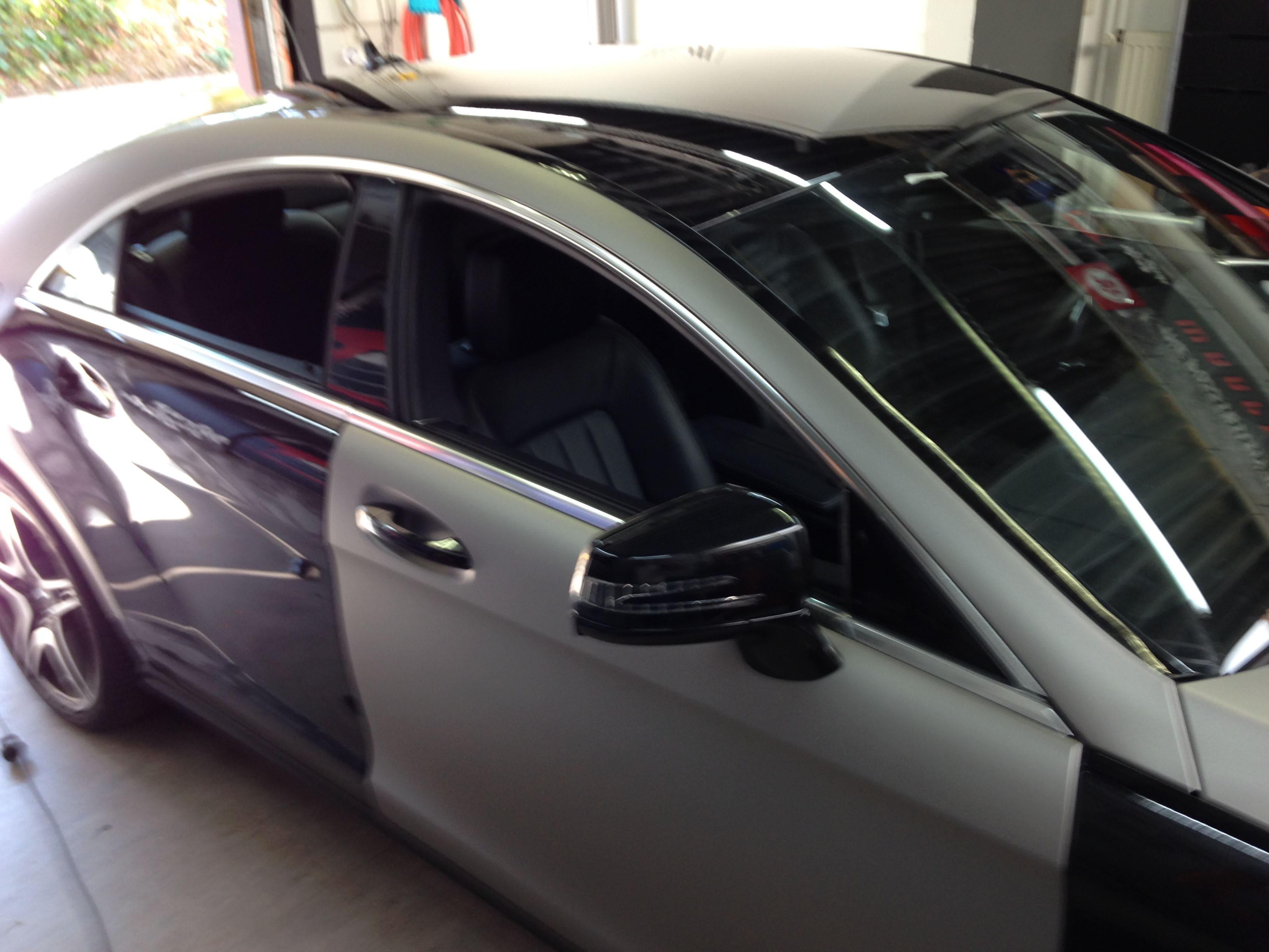 Mercedes CLS met Mat Grey Aluminium Wrap, Carwrapping door Wrapmyride.nu Foto-nr:6132, ©2020
