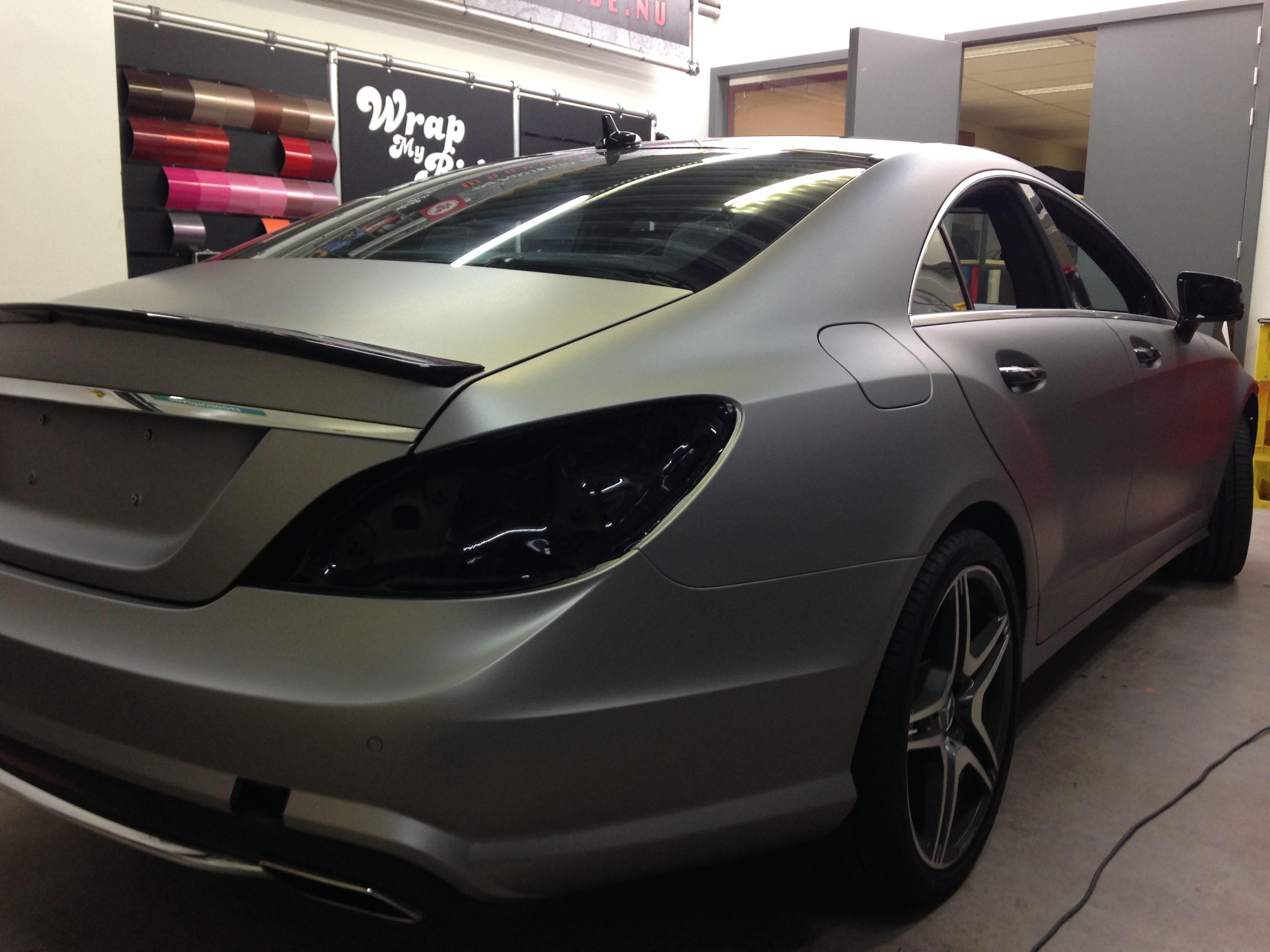 Mercedes CLS met Mat Grey Aluminium Wrap, Carwrapping door Wrapmyride.nu Foto-nr:6134, ©2020