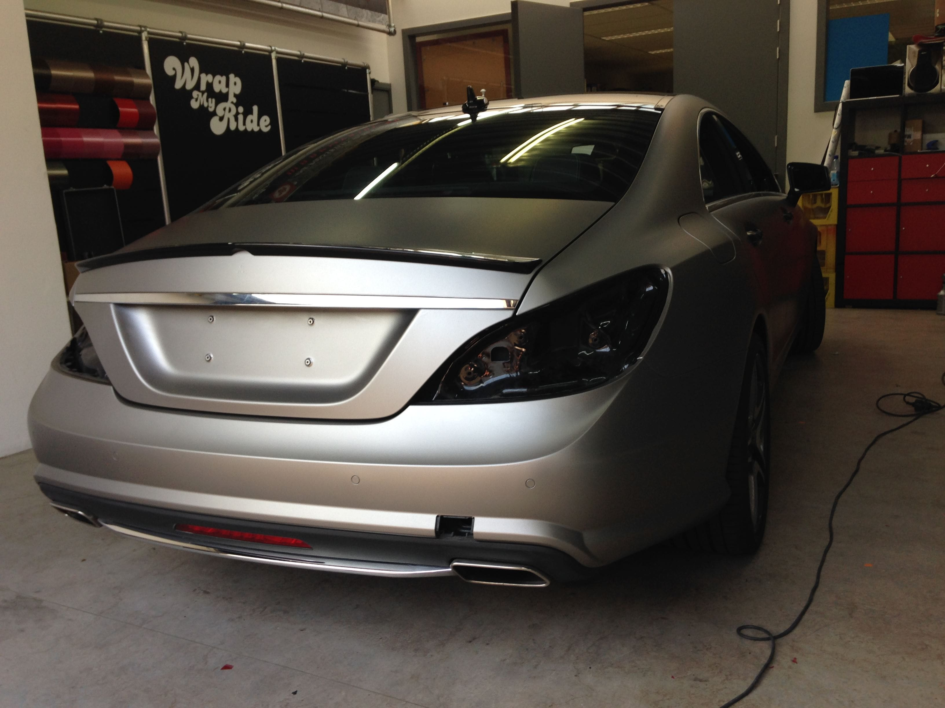 Mercedes CLS met Mat Grey Aluminium Wrap, Carwrapping door Wrapmyride.nu Foto-nr:6135, ©2020