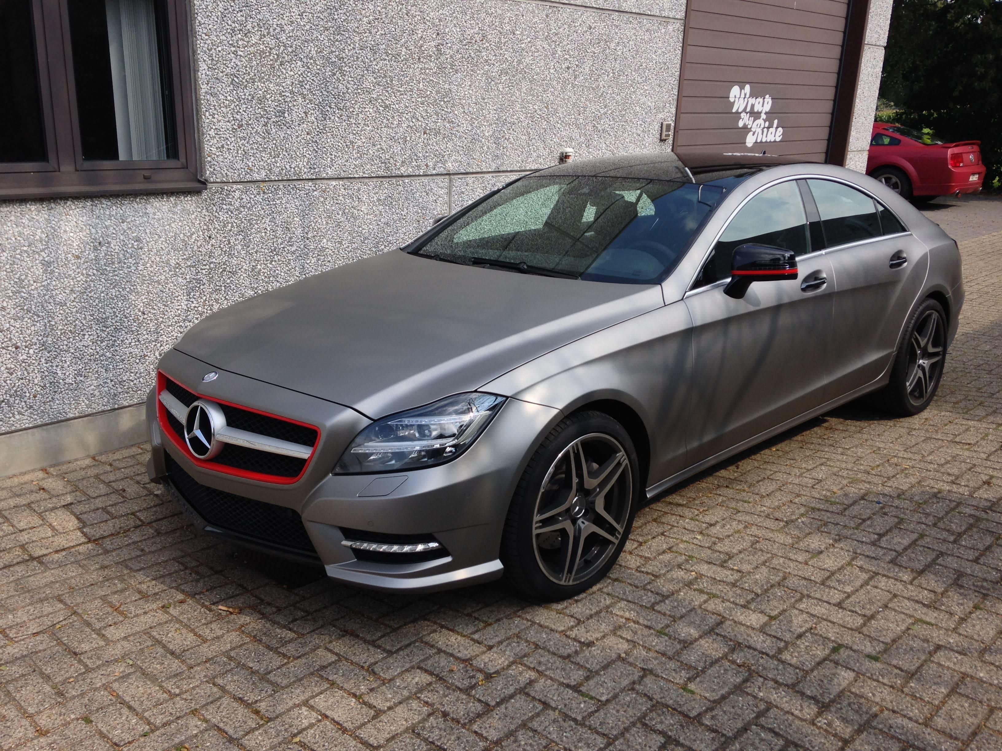 Mercedes CLS met Mat Grey Aluminium Wrap, Carwrapping door Wrapmyride.nu Foto-nr:6139, ©2020
