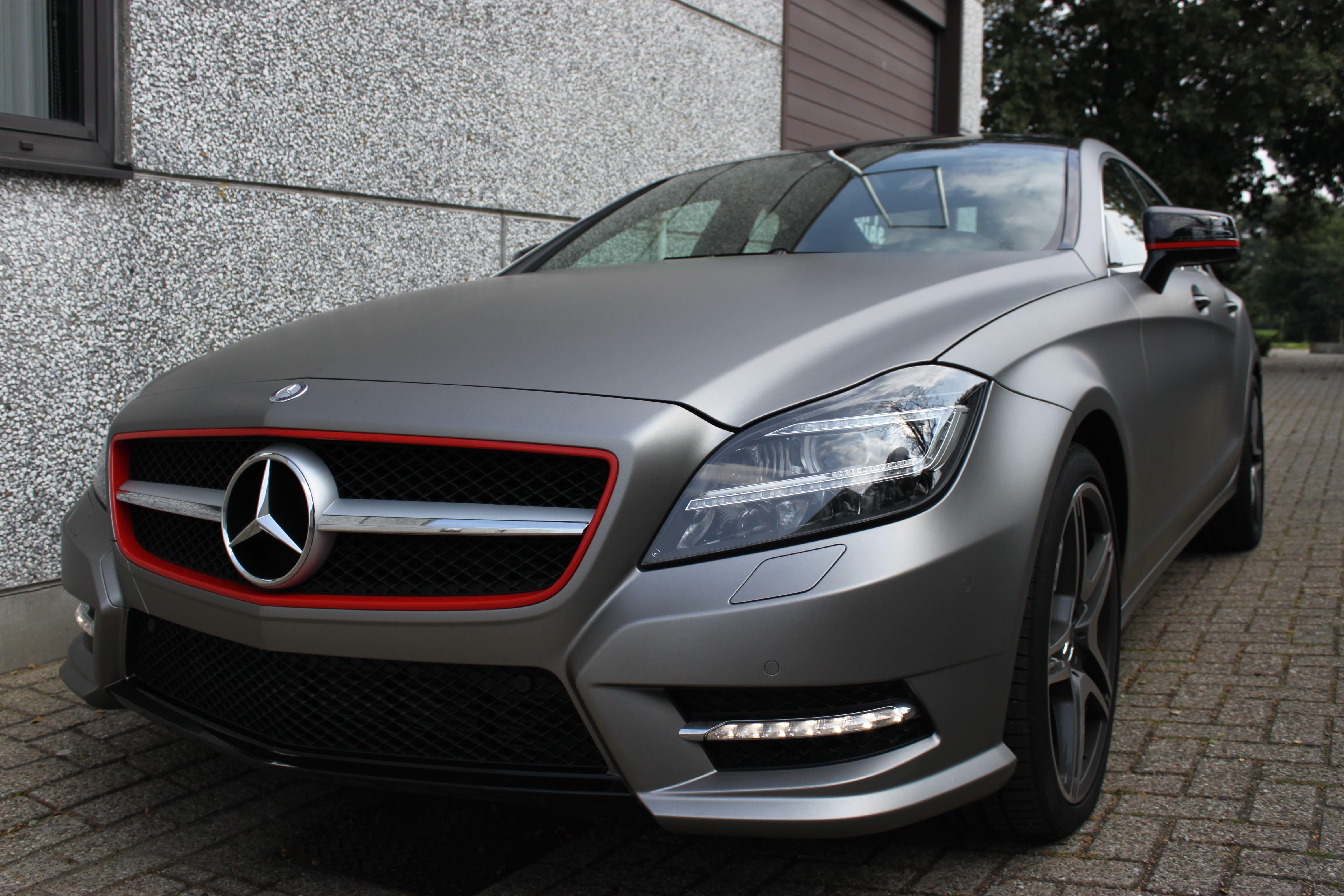 Mercedes CLS met Mat Grey Aluminium Wrap, Carwrapping door Wrapmyride.nu Foto-nr:6146, ©2020