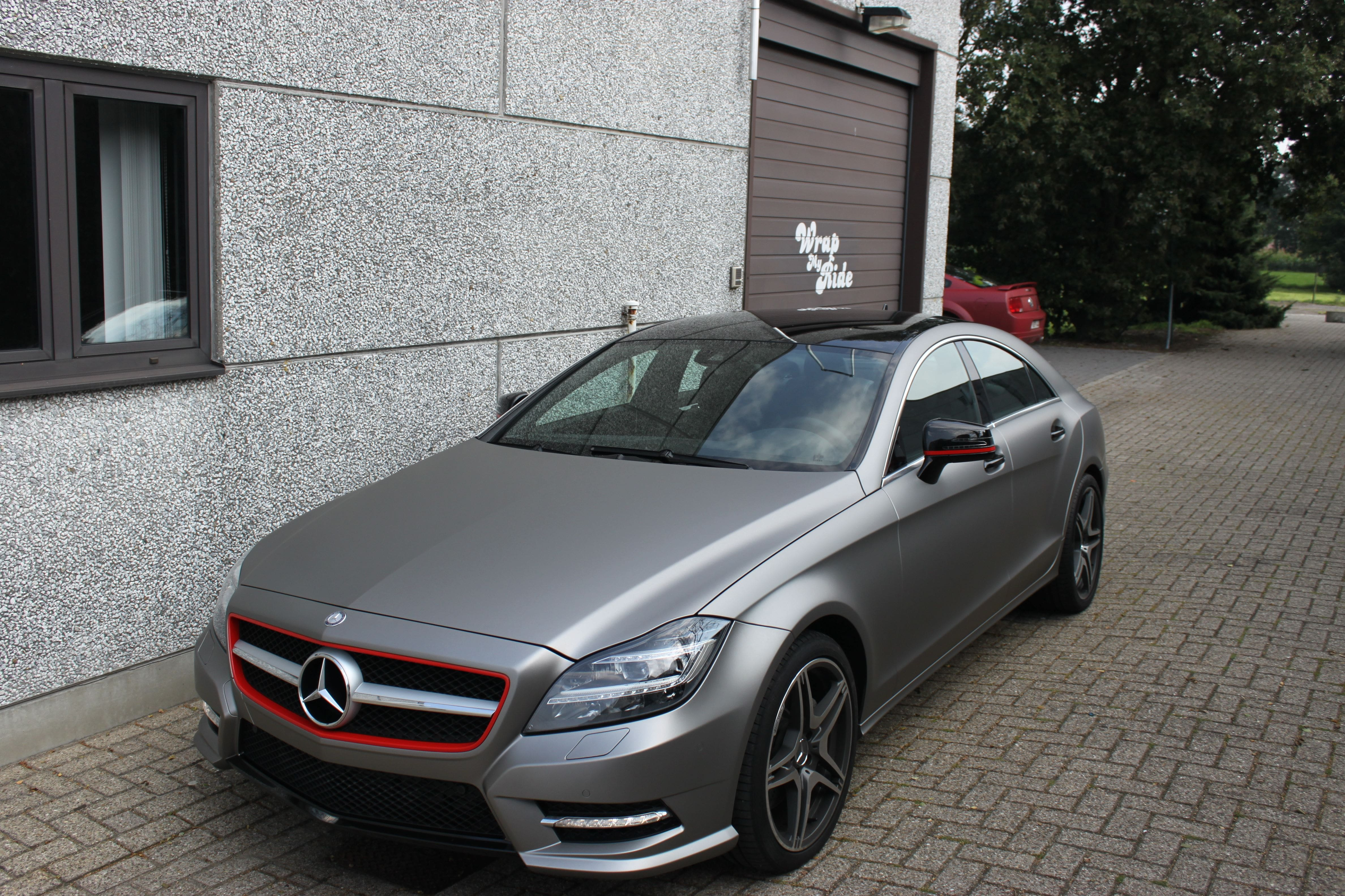 Mercedes CLS met Mat Grey Aluminium Wrap, Carwrapping door Wrapmyride.nu Foto-nr:6147, ©2020
