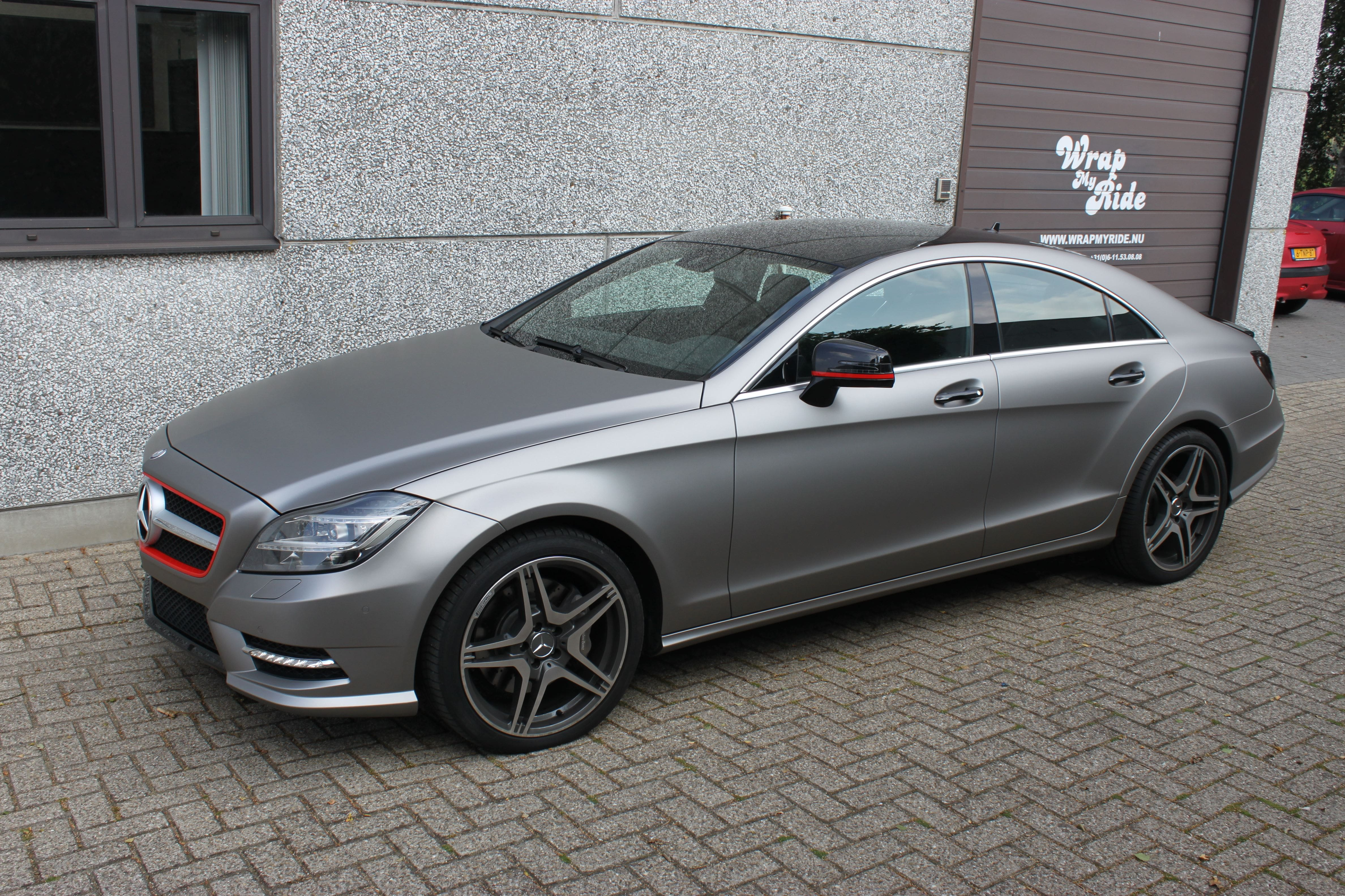 Mercedes CLS met Mat Grey Aluminium Wrap, Carwrapping door Wrapmyride.nu Foto-nr:6149, ©2020