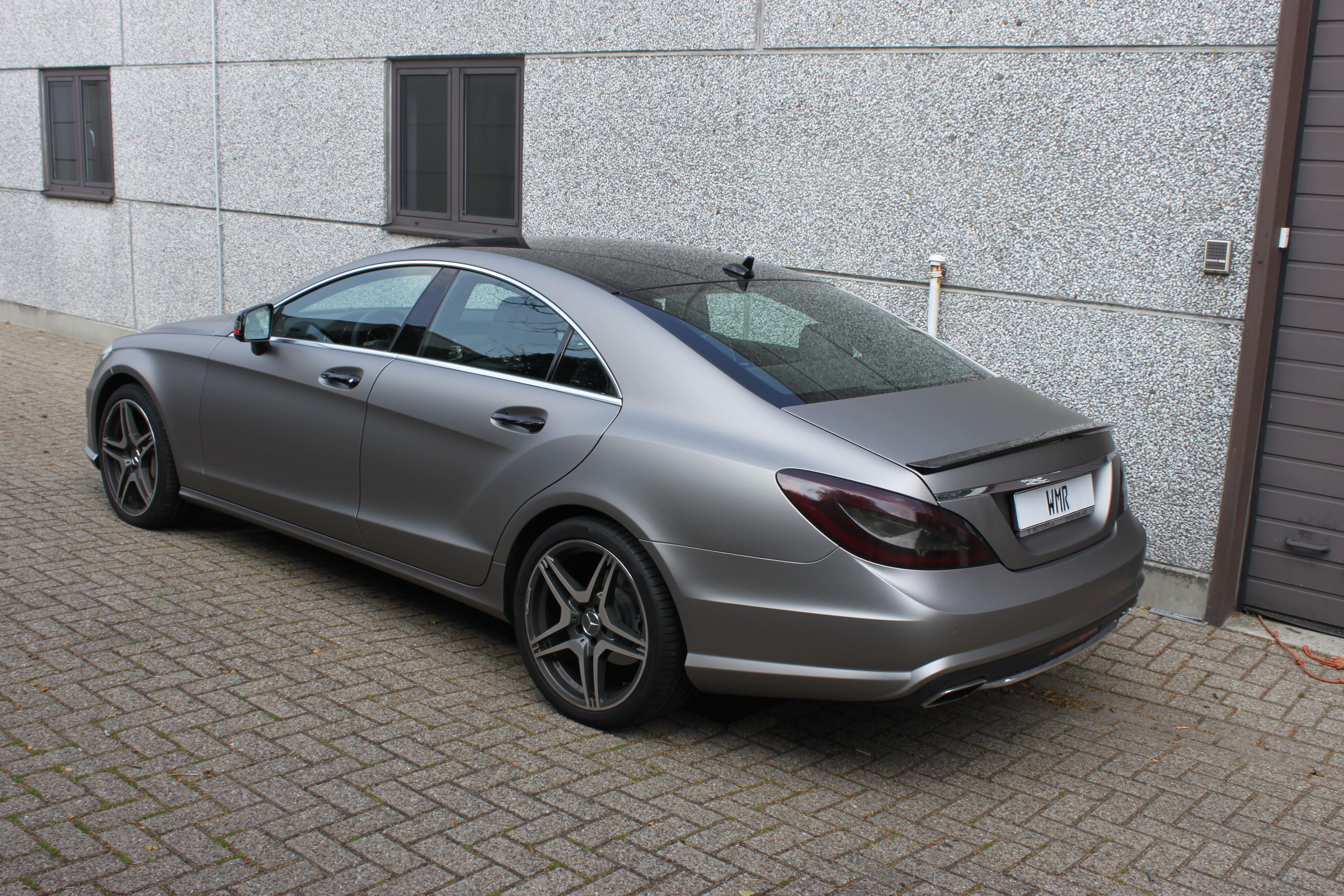 Mercedes CLS met Mat Grey Aluminium Wrap, Carwrapping door Wrapmyride.nu Foto-nr:6150, ©2020