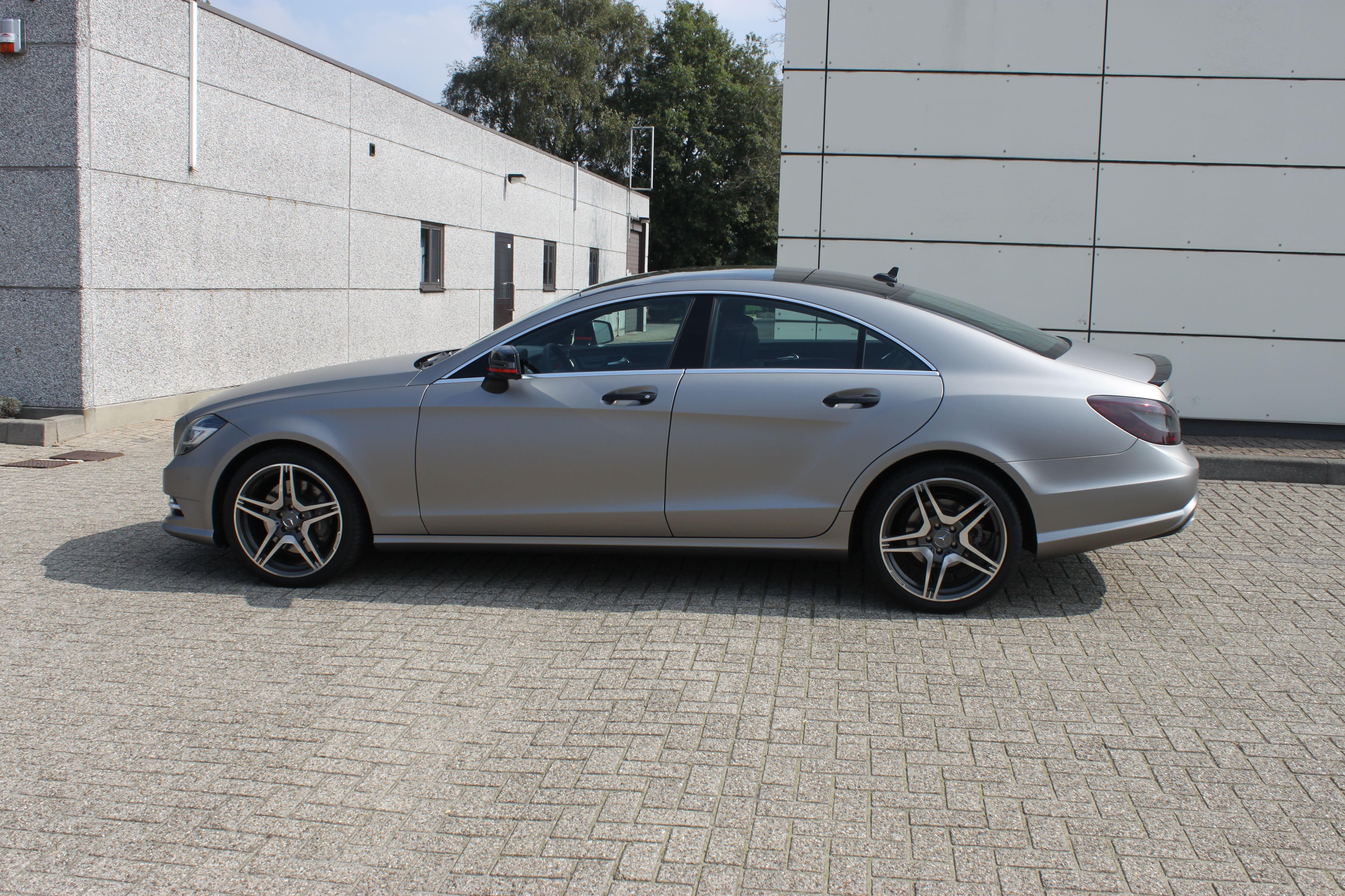 Mercedes CLS met Mat Grey Aluminium Wrap, Carwrapping door Wrapmyride.nu Foto-nr:6157, ©2020