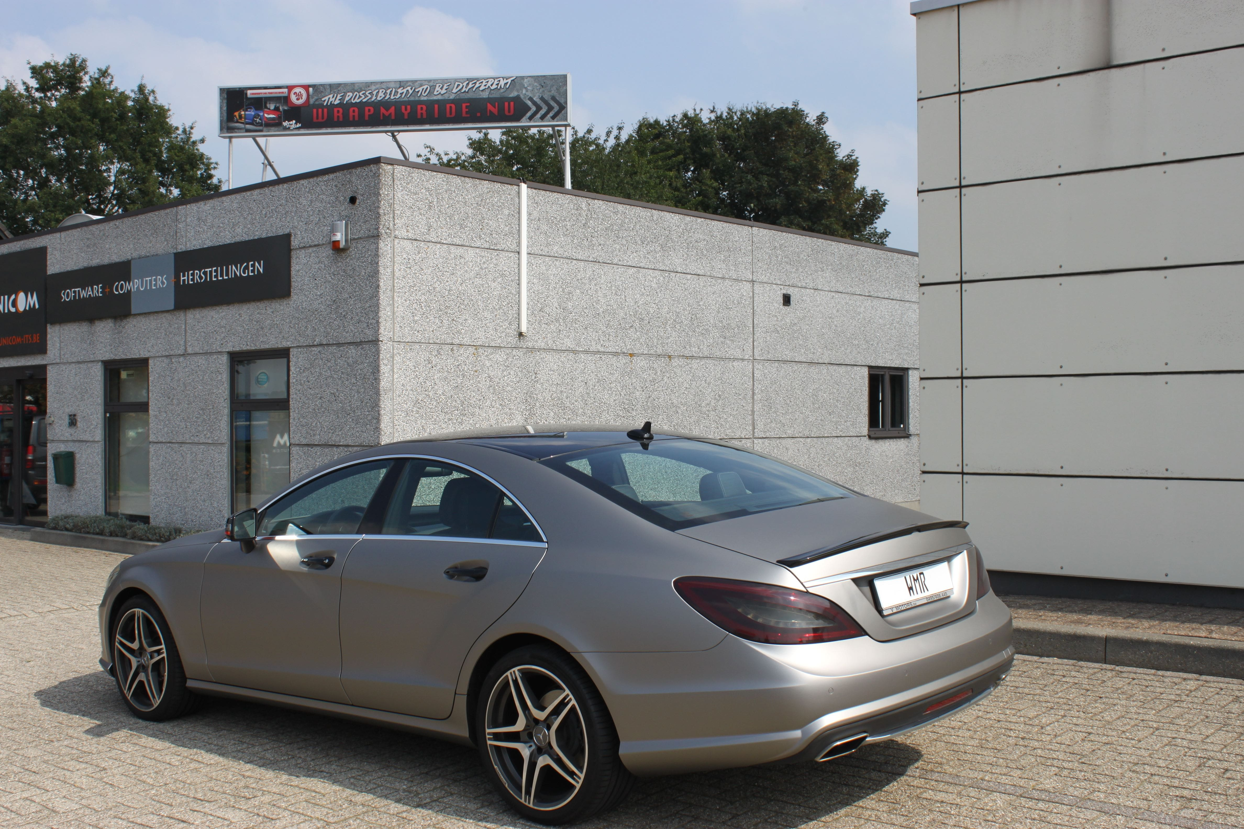 Mercedes CLS met Mat Grey Aluminium Wrap, Carwrapping door Wrapmyride.nu Foto-nr:6158, ©2020
