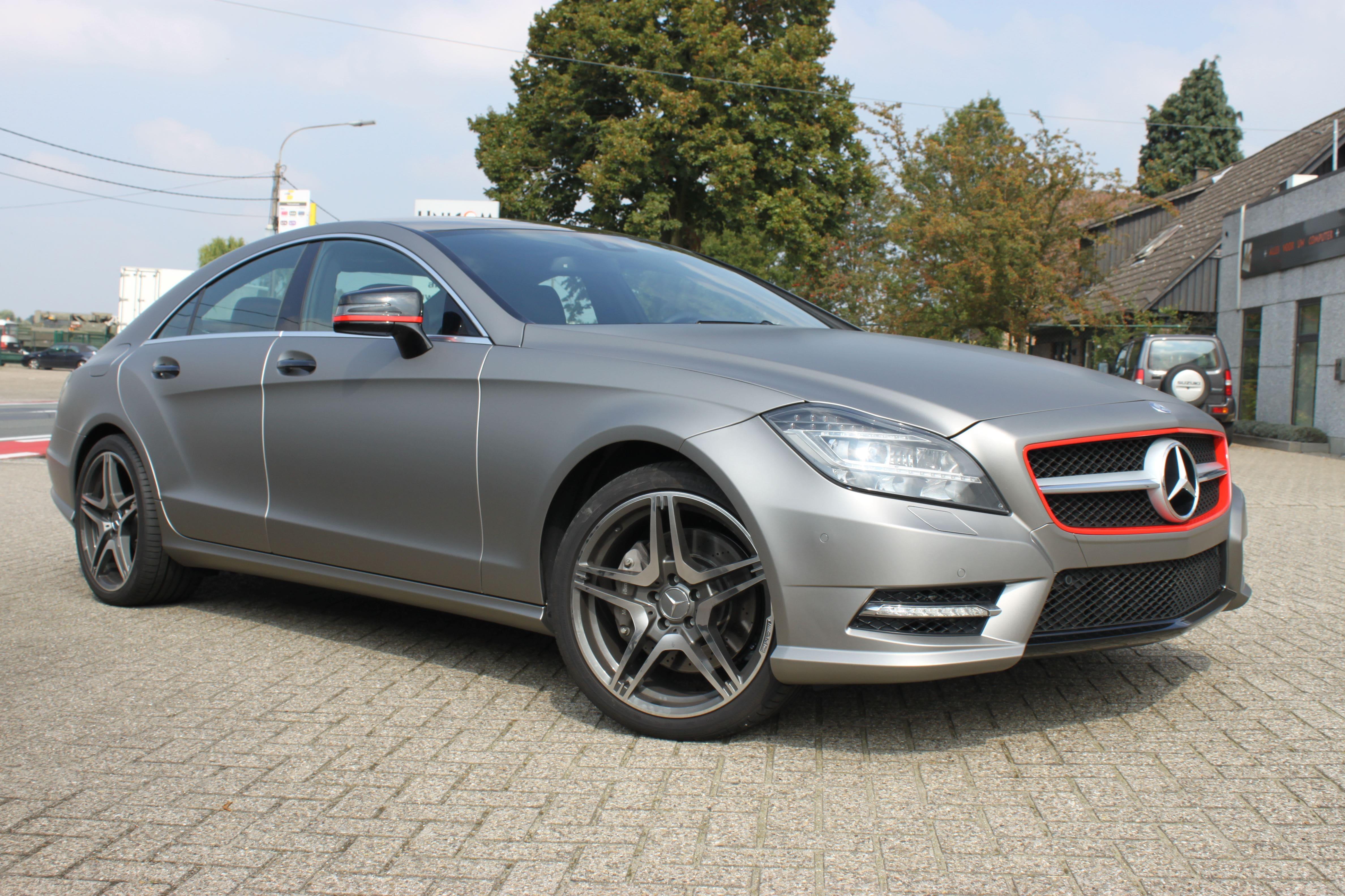 Mercedes CLS met Mat Grey Aluminium Wrap, Carwrapping door Wrapmyride.nu Foto-nr:6160, ©2020