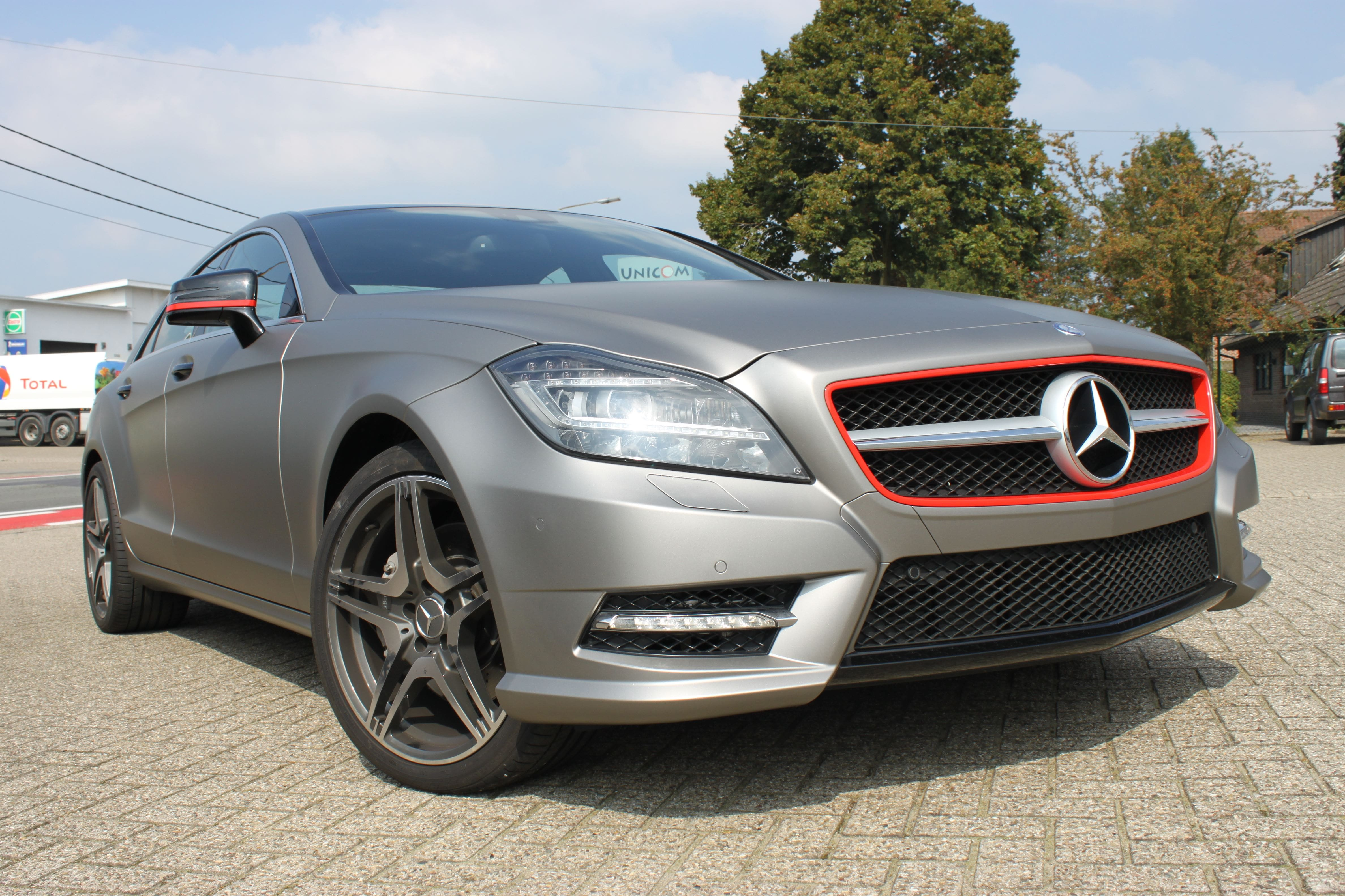 Mercedes CLS met Mat Grey Aluminium Wrap, Carwrapping door Wrapmyride.nu Foto-nr:6162, ©2020