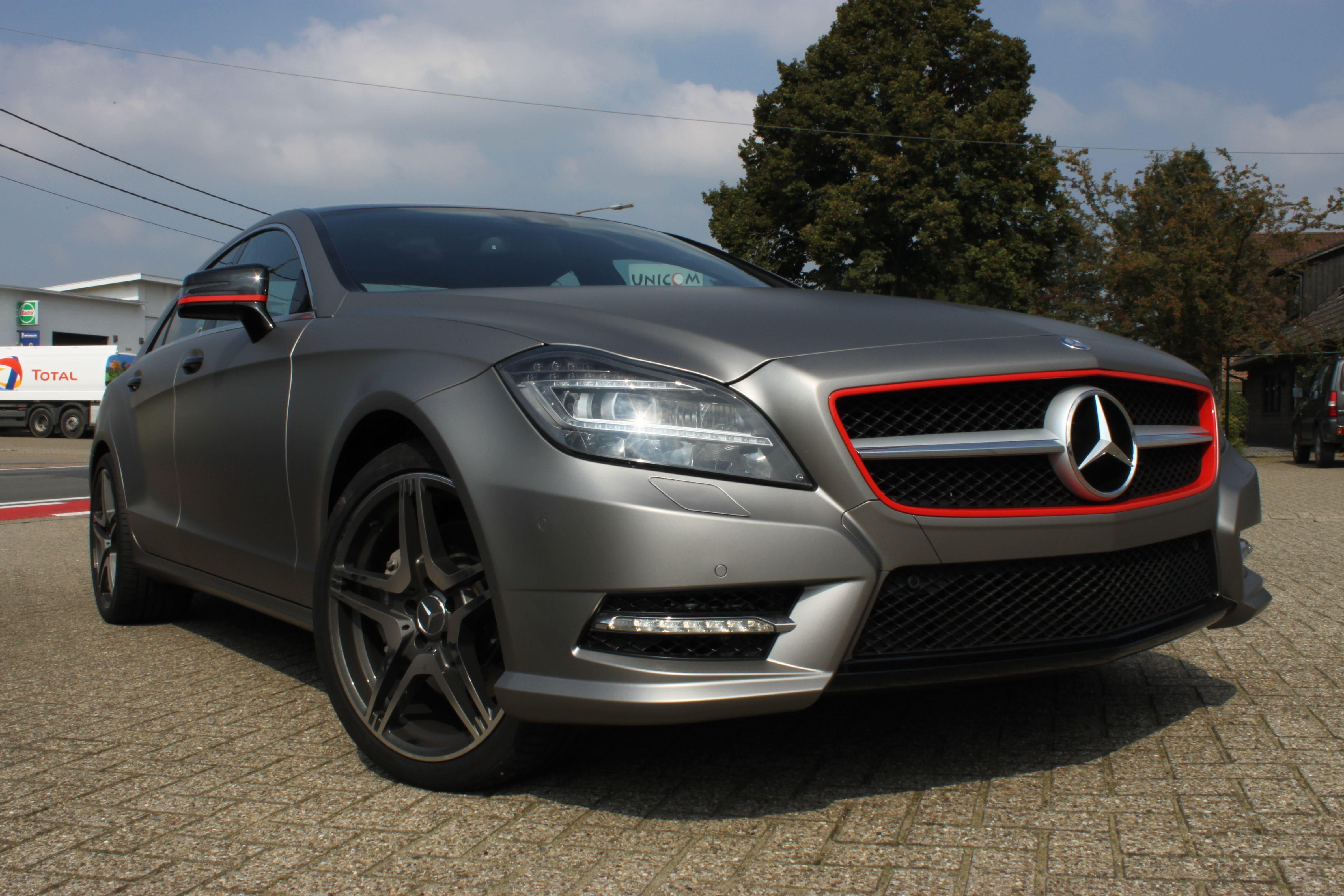 Mercedes CLS met Mat Grey Aluminium Wrap, Carwrapping door Wrapmyride.nu Foto-nr:6164, ©2020