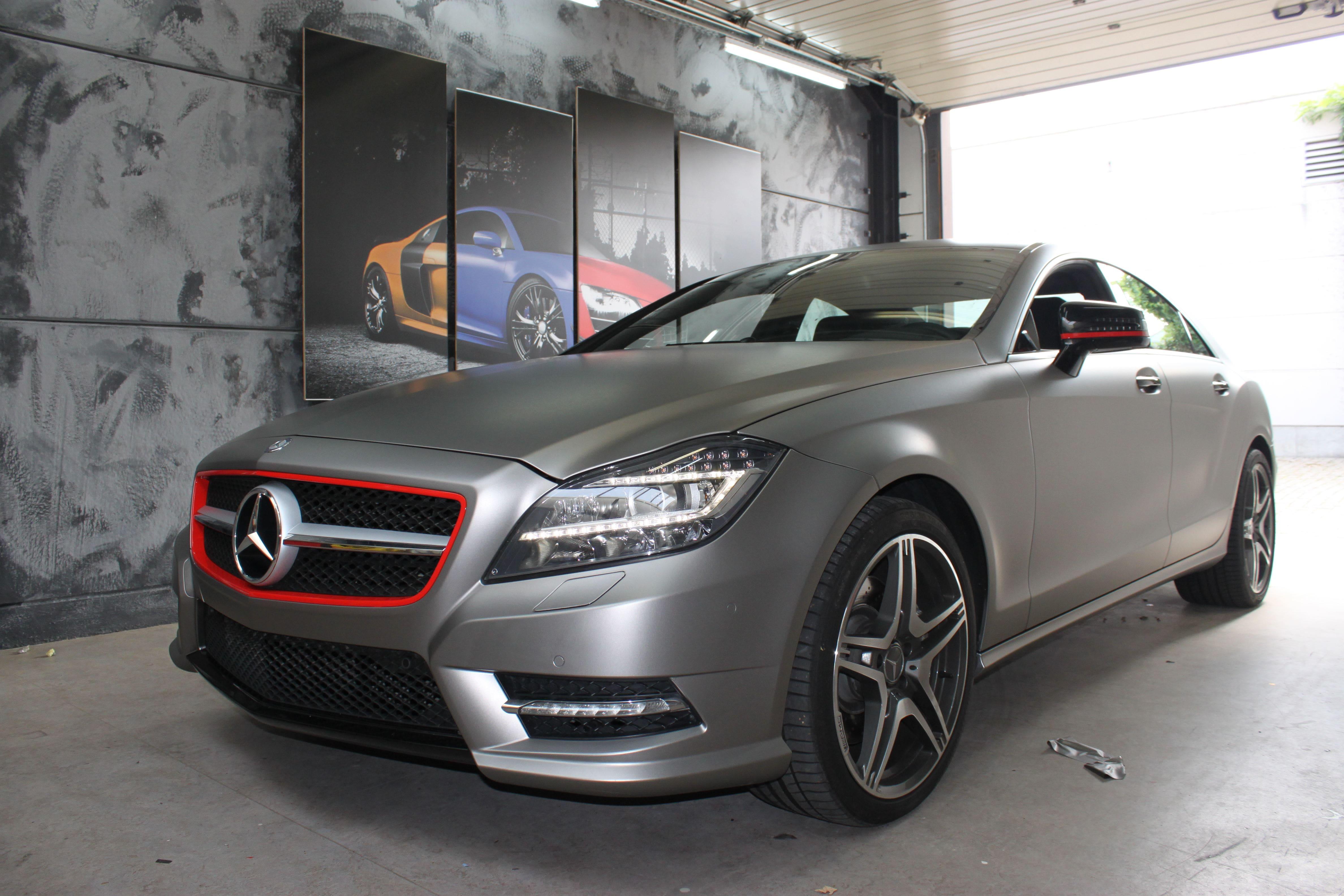 Mercedes CLS met Mat Grey Aluminium Wrap, Carwrapping door Wrapmyride.nu Foto-nr:6170, ©2020