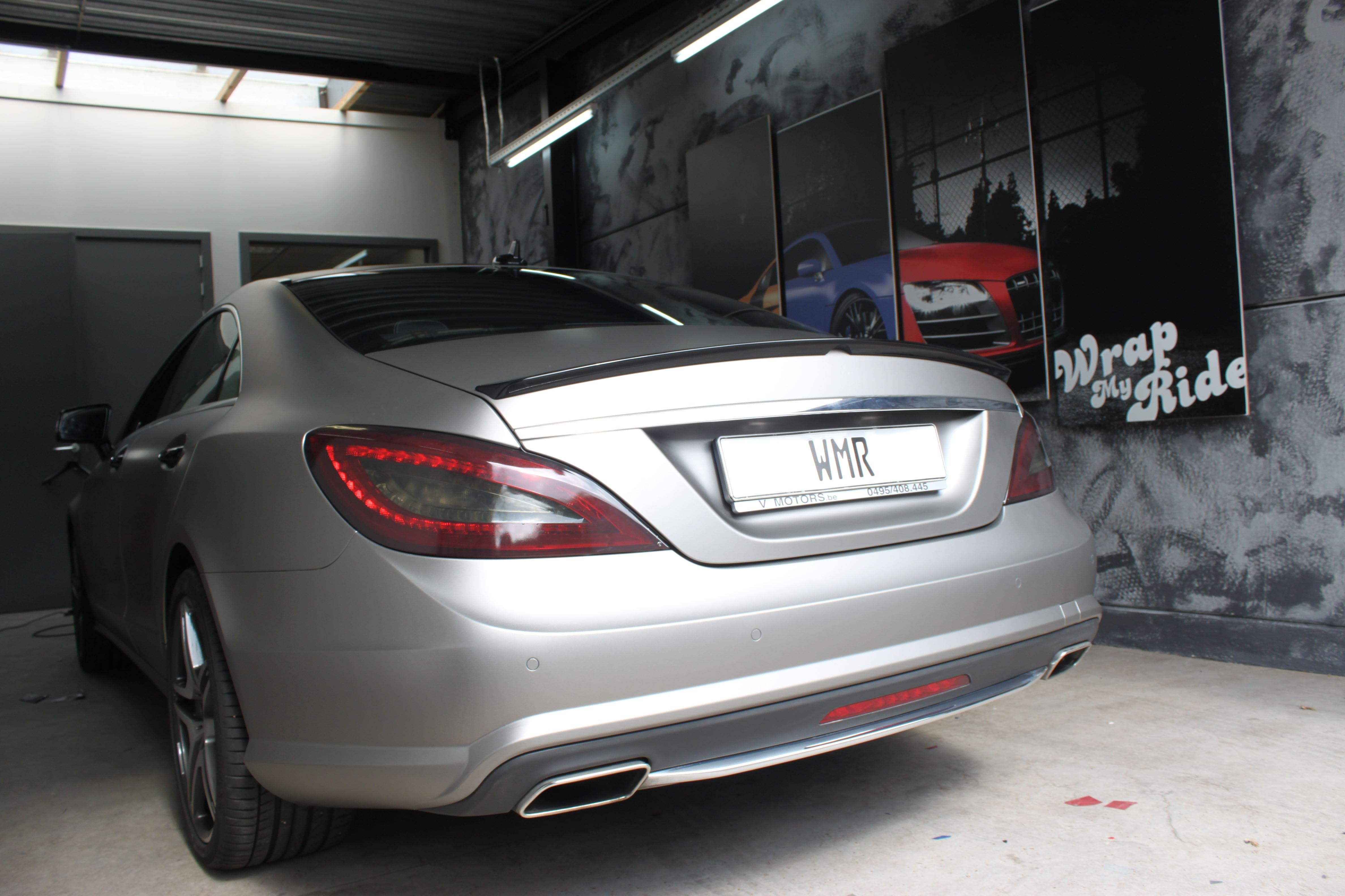 Mercedes CLS met Mat Grey Aluminium Wrap, Carwrapping door Wrapmyride.nu Foto-nr:6171, ©2020