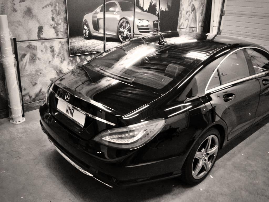 Mercedes CLS met White Satin Pearl Wrap, Carwrapping door Wrapmyride.nu Foto-nr:6176, ©2021