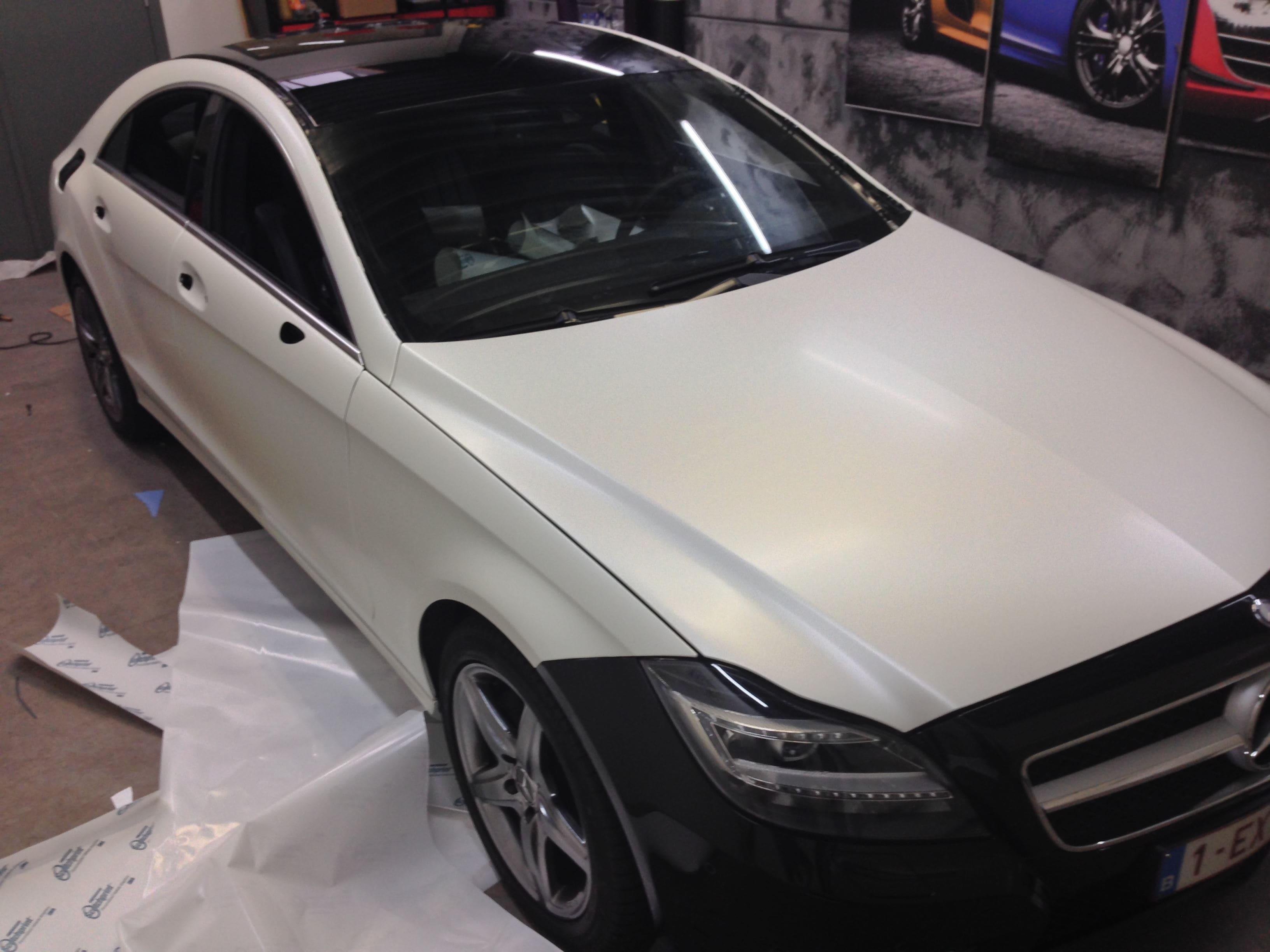 Mercedes CLS met White Satin Pearl Wrap, Carwrapping door Wrapmyride.nu Foto-nr:6184, ©2021