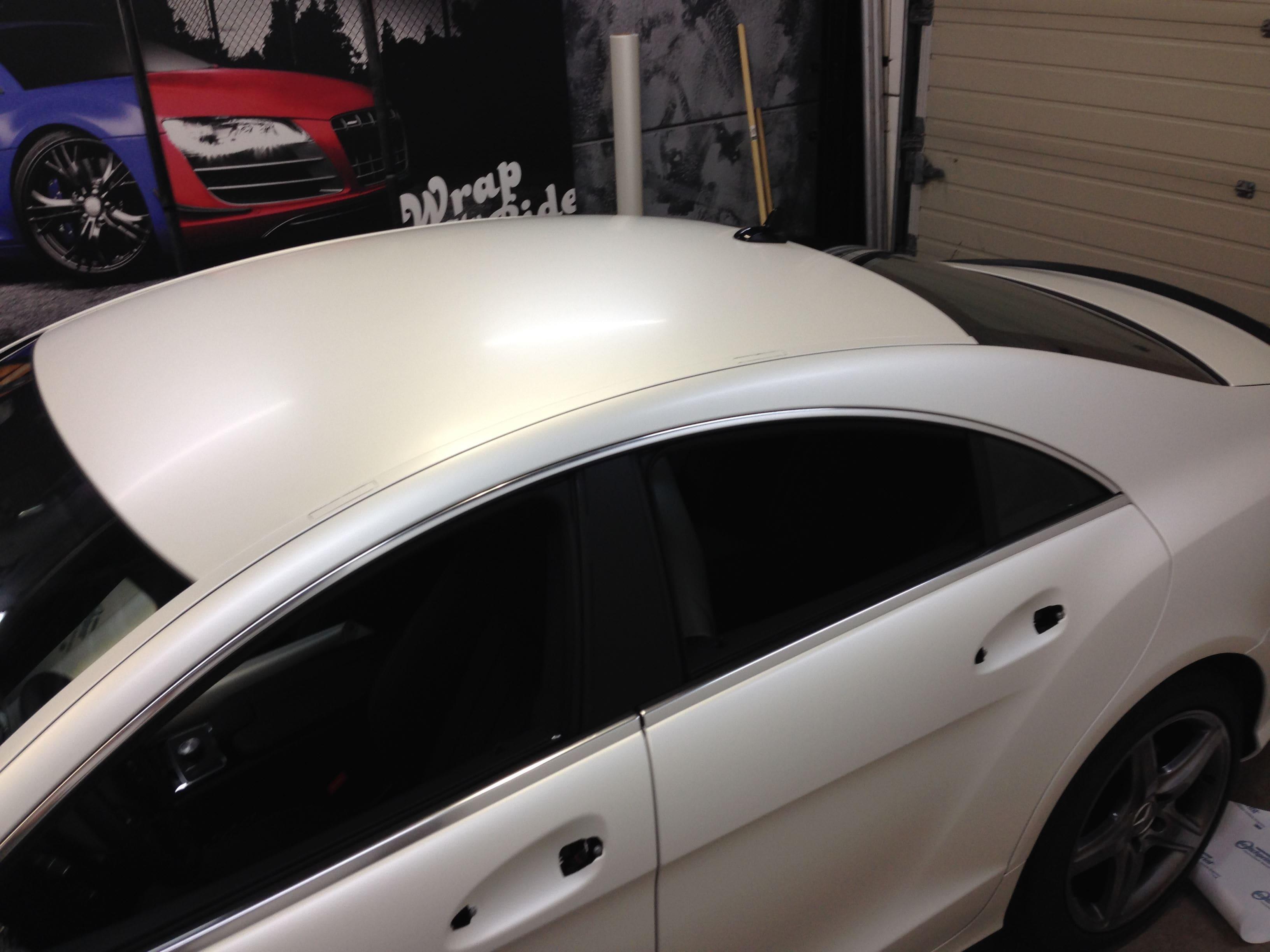 Mercedes CLS met White Satin Pearl Wrap, Carwrapping door Wrapmyride.nu Foto-nr:6195, ©2021