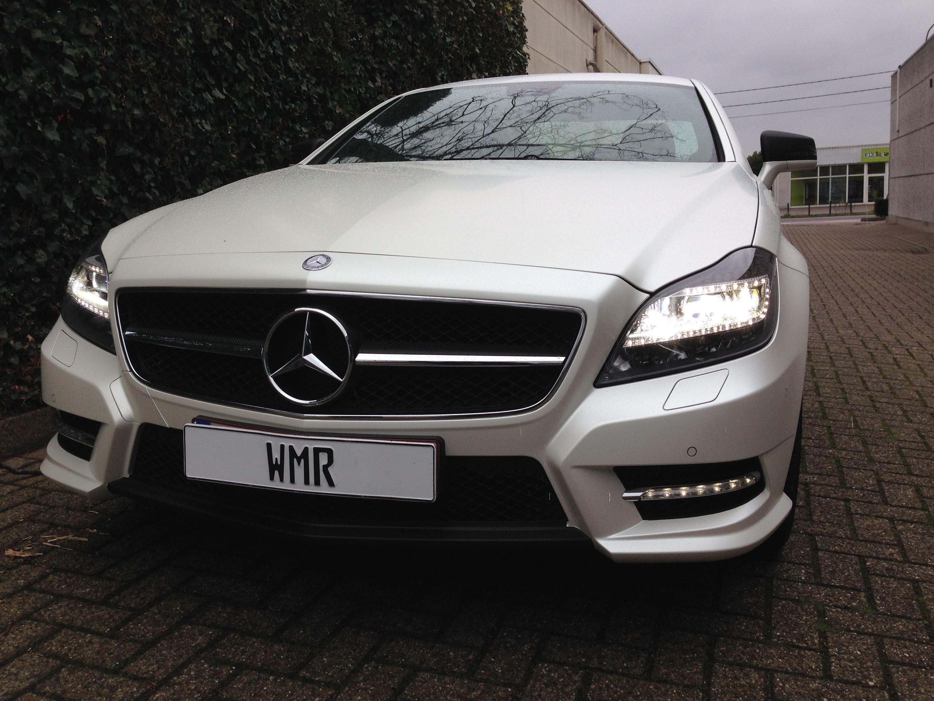 Mercedes CLS met White Satin Pearl Wrap, Carwrapping door Wrapmyride.nu Foto-nr:6203, ©2021